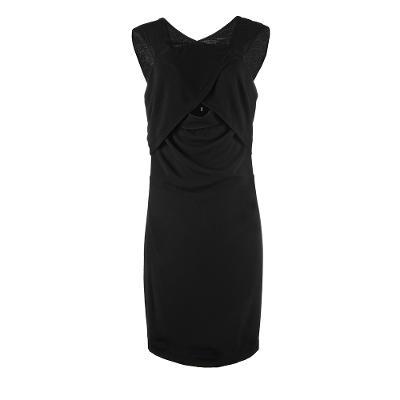 cross front midi dress black